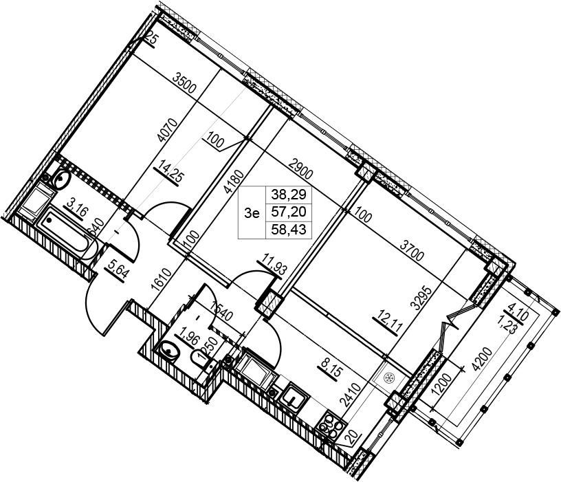 3-комнатная 61 м<sup>2</sup> на 7 этаже