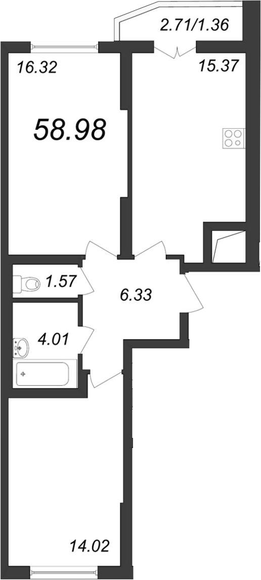 3-к.кв (евро), 60.34 м²