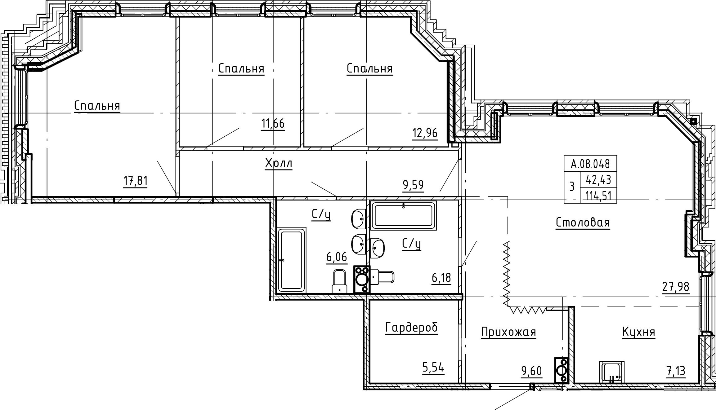 4-комнатная 114 м<sup>2</sup> на 8 этаже