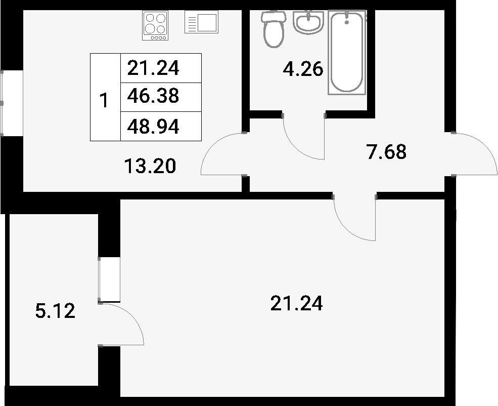 1-комнатная 52 м<sup>2</sup> на 1 этаже