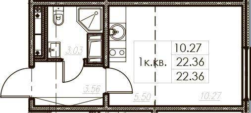 Студия 22 м<sup>2</sup> на 25 этаже