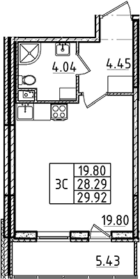 Студия 33 м<sup>2</sup> на 1 этаже