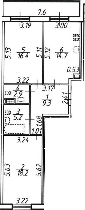2-комнатная 74 м<sup>2</sup> на 8 этаже