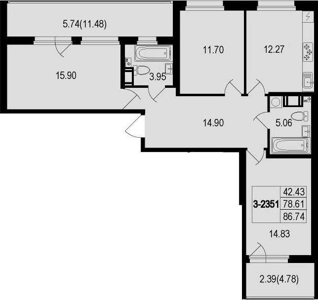 3-комнатная 94 м<sup>2</sup> на 6 этаже