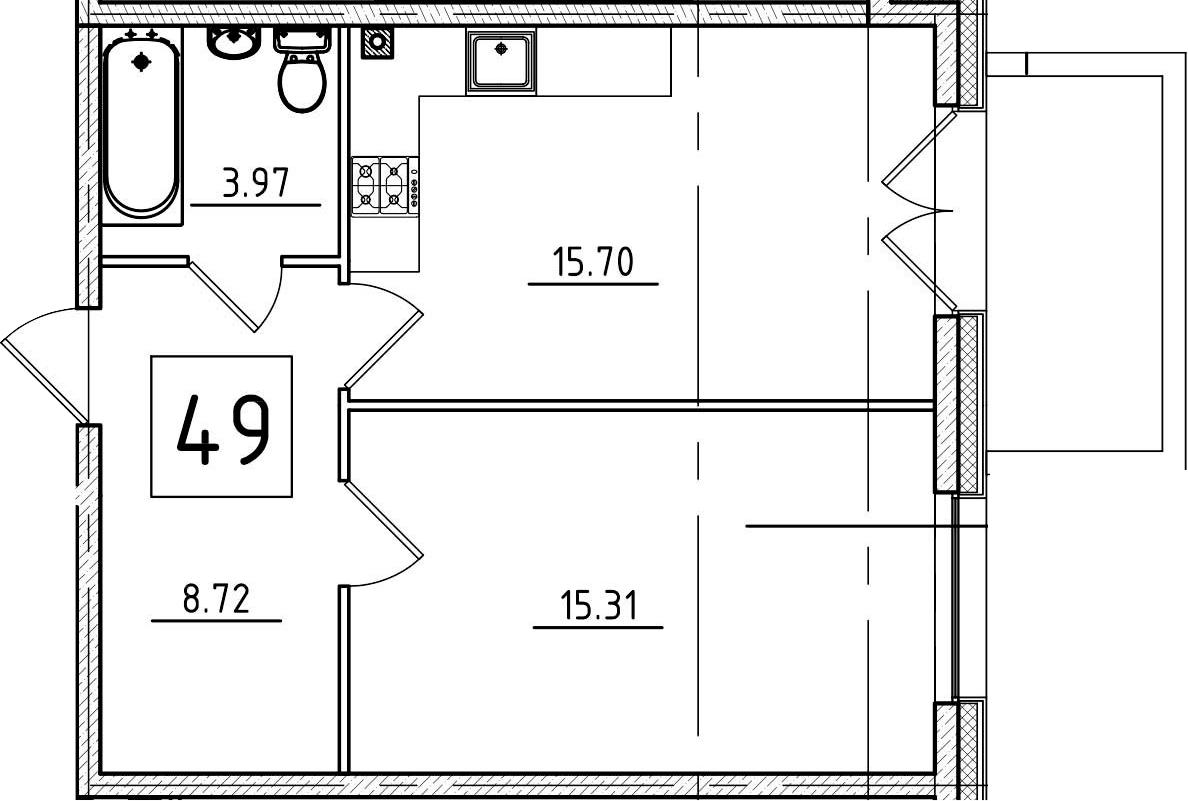 2-к.кв (евро), 48.5 м²