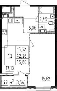 2-комнатная 45 м<sup>2</sup> на 3 этаже