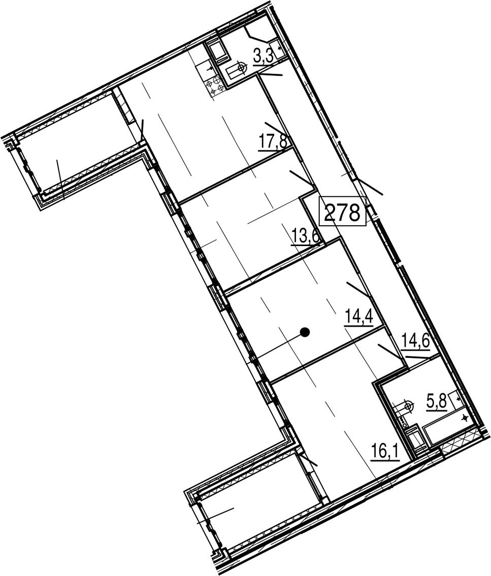 4-комнатная 99 м<sup>2</sup> на 11 этаже