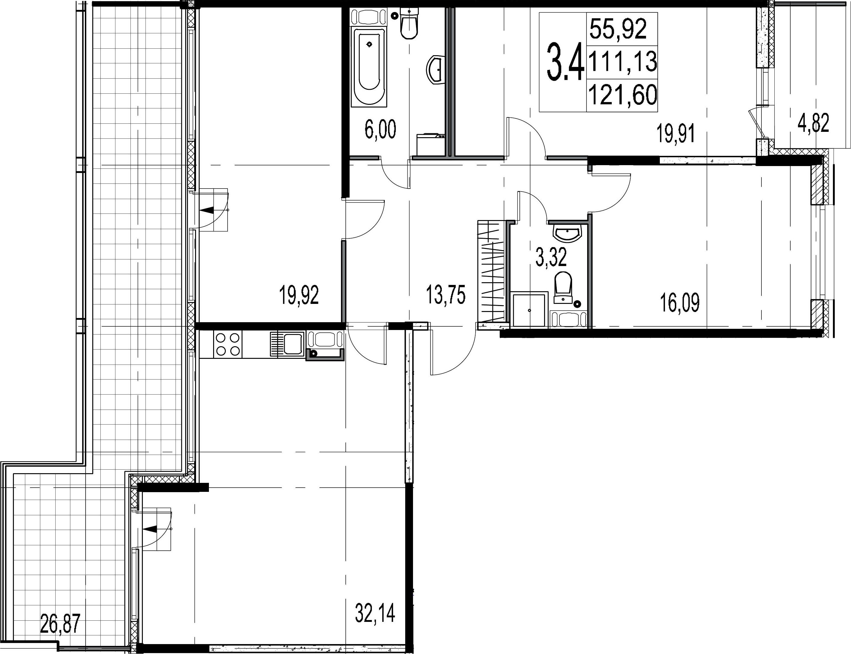 4-комнатная 142 м<sup>2</sup> на 9 этаже