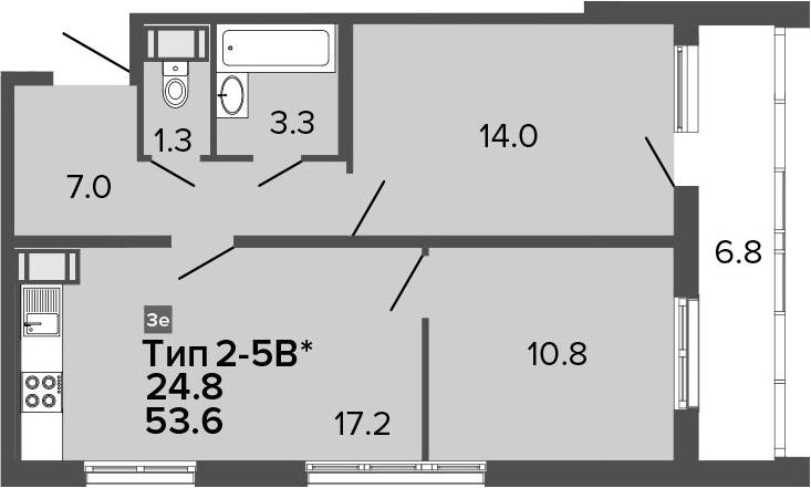 3-комнатная 60 м<sup>2</sup> на 17 этаже