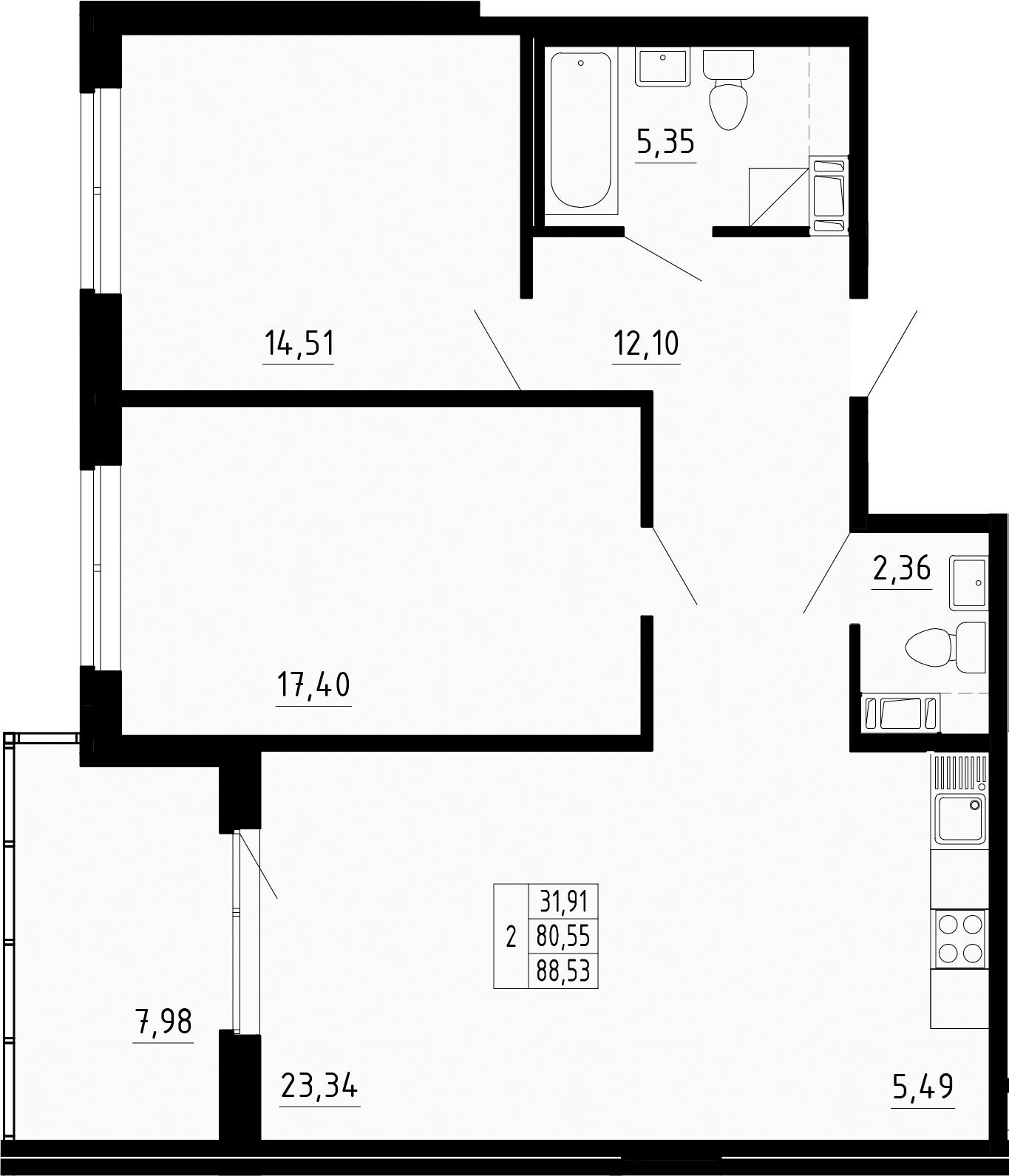3-к.кв (евро), 88.53 м²