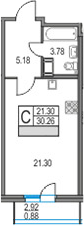 Студия 33 м<sup>2</sup> на 19 этаже