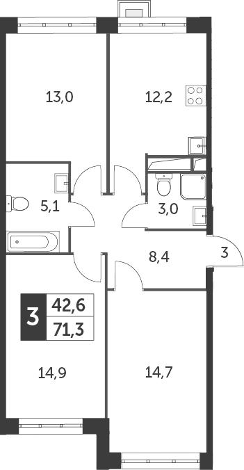 3-к.кв, 71.3 м²