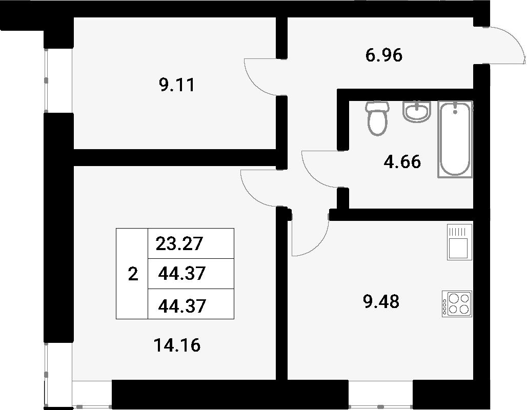 2-к.кв, 44.37 м²