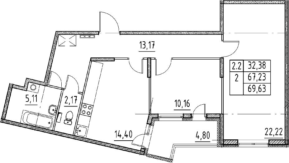 2-комнатная 72 м<sup>2</sup> на 2 этаже