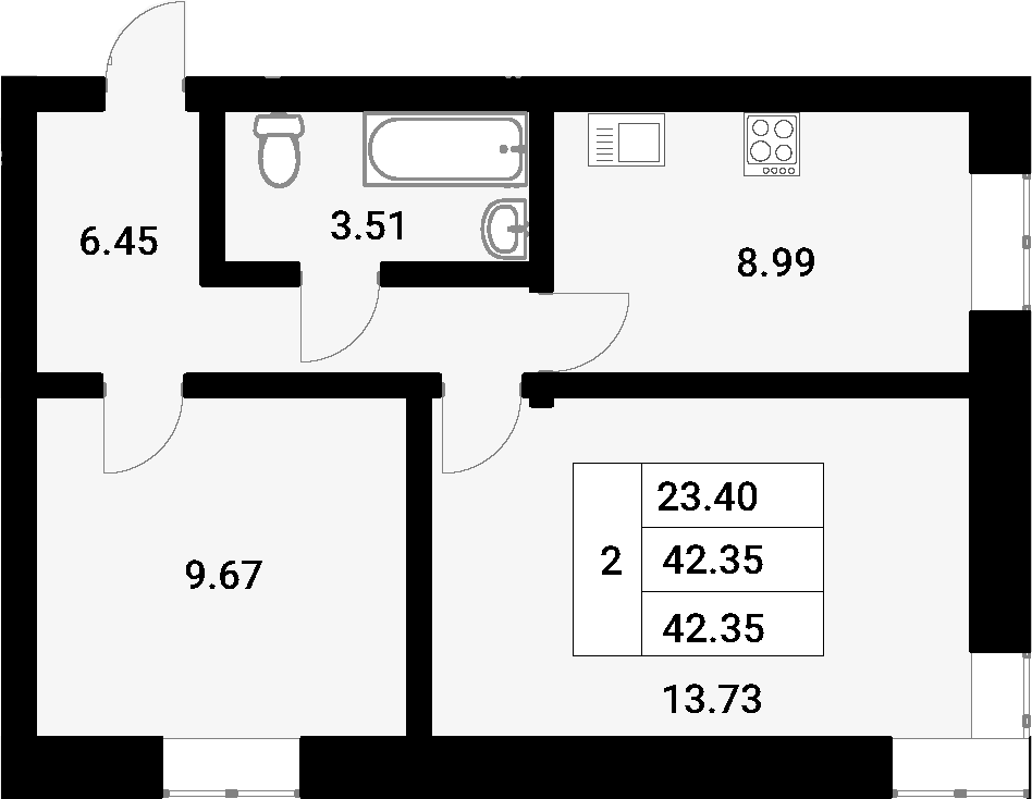 2-к.кв, 42.35 м²