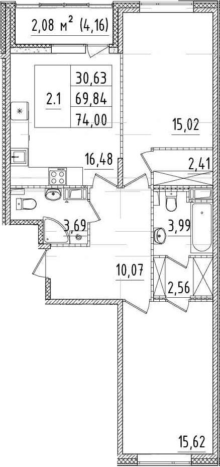 3-комнатная 74 м<sup>2</sup> на 4 этаже