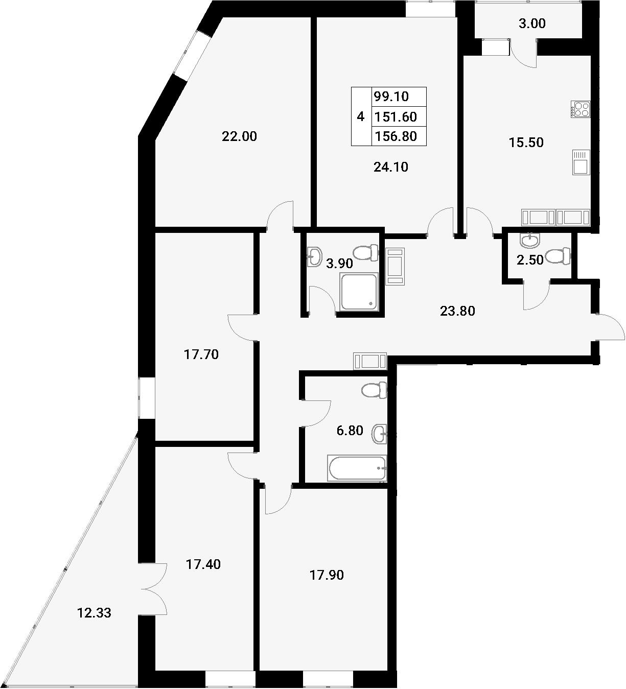 5-к.кв, 166.93 м²