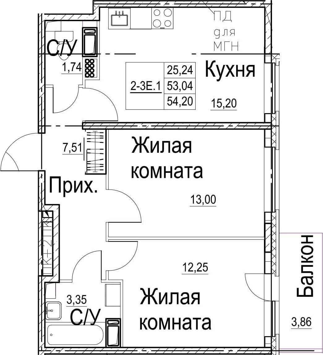 3-комнатная 56 м<sup>2</sup> на 8 этаже