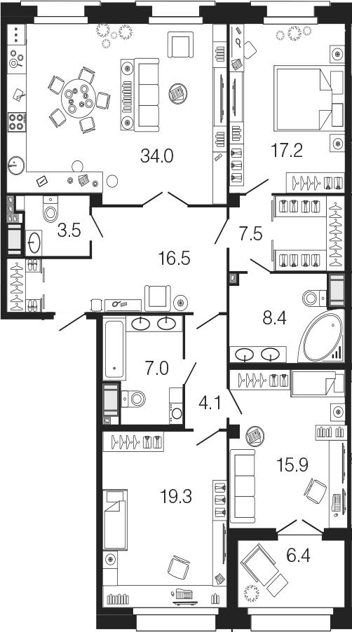 4-комнатная 139 м<sup>2</sup> на 6 этаже