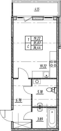Студия 39 м<sup>2</sup> на 1 этаже