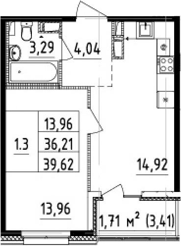 2-комнатная 39 м<sup>2</sup> на 11 этаже