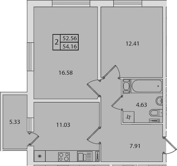 2-к.кв, 57.89 м²