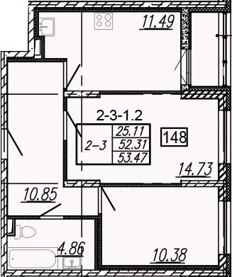 2-к.кв, 54.63 м²