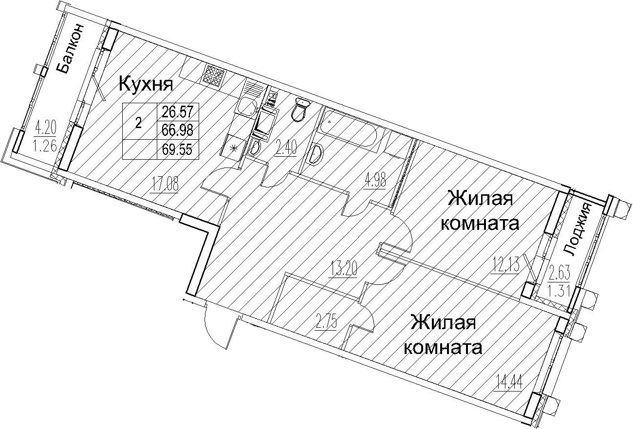 3-комнатная 73 м<sup>2</sup> на 11 этаже