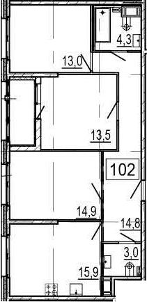4-комнатная 83 м<sup>2</sup> на 9 этаже