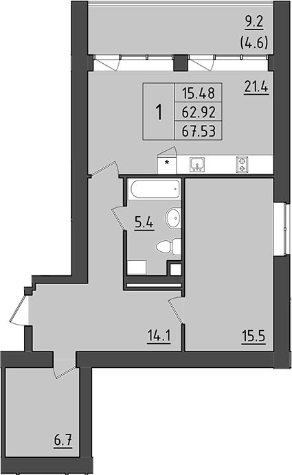 2-комнатная 81 м<sup>2</sup> на 7 этаже