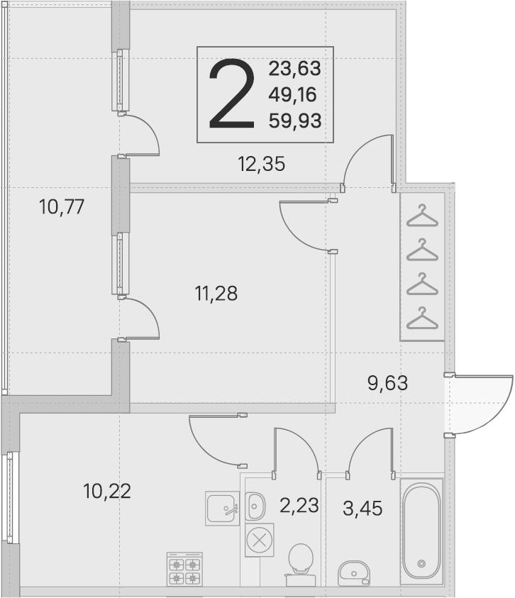 2-комнатная 59 м<sup>2</sup> на 1 этаже