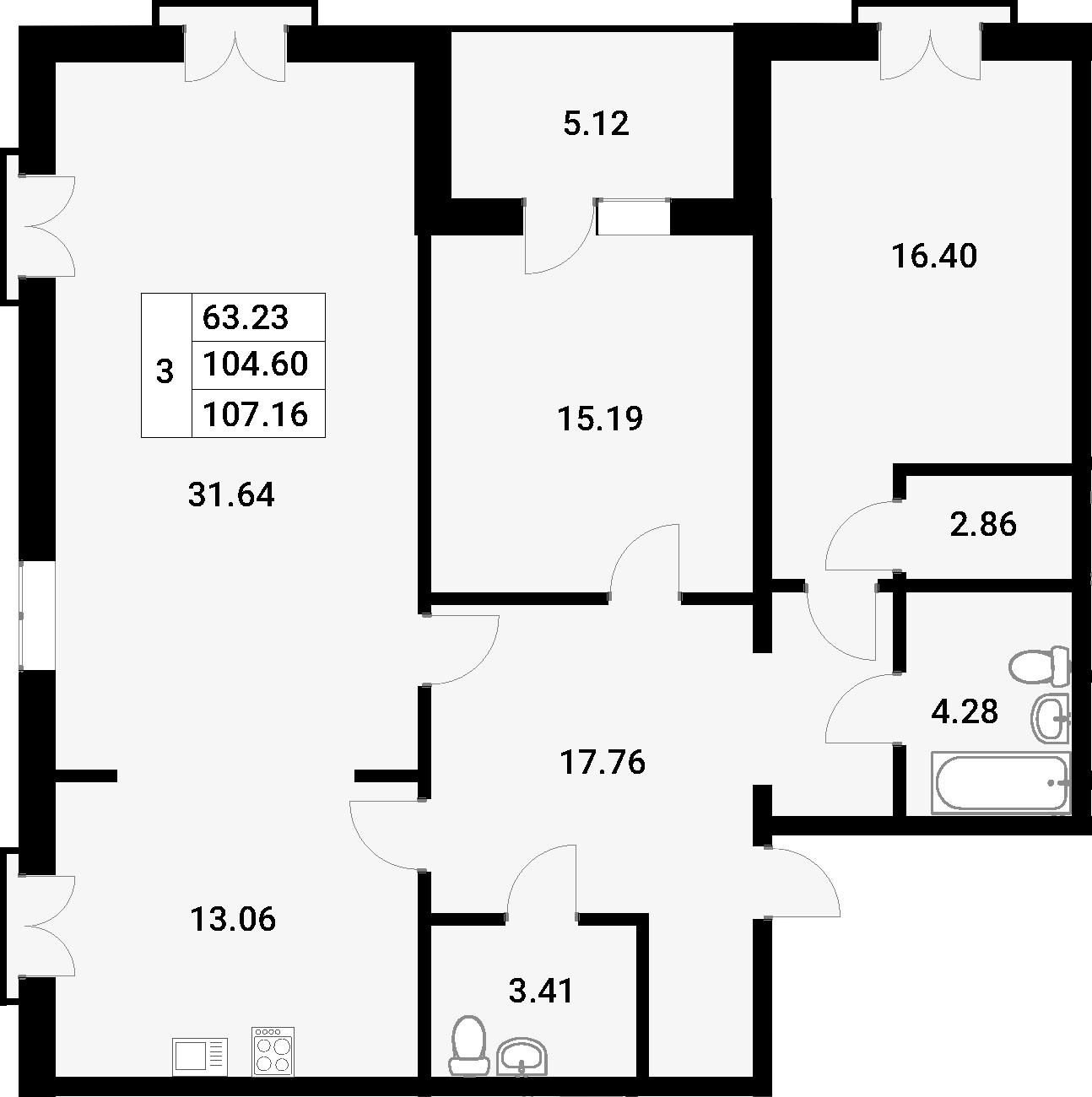 3-комнатная 109 м<sup>2</sup> на 2 этаже