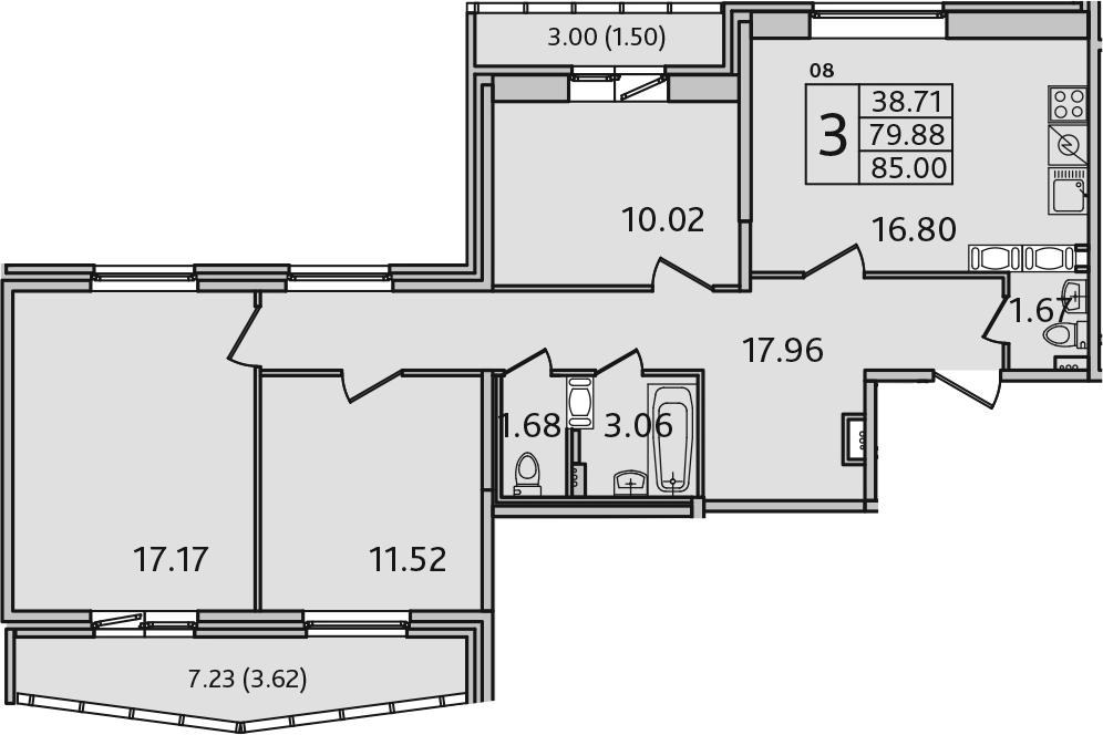 4-комнатная 90 м<sup>2</sup> на 7 этаже