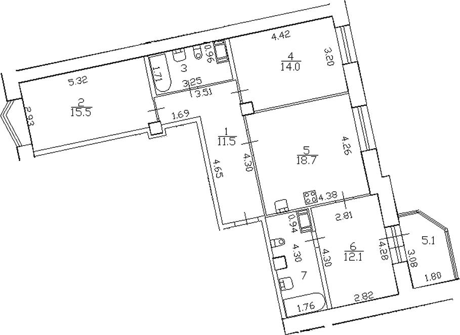 4-комнатная 88 м<sup>2</sup> на 10 этаже