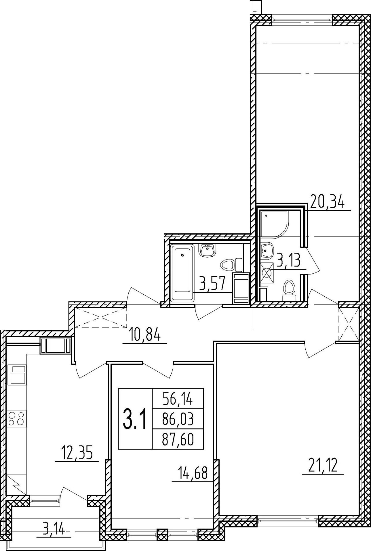3-комнатная 89 м<sup>2</sup> на 8 этаже