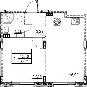 2-комнатная 35 м<sup>2</sup> на 3 этаже