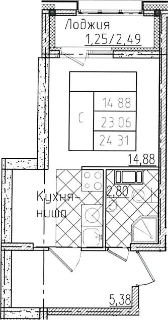 Студия 25 м<sup>2</sup> на 13 этаже
