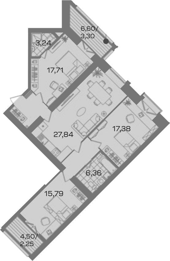 3-комнатная 109 м<sup>2</sup> на 4 этаже