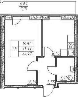 1-к.кв, 38.09 м²