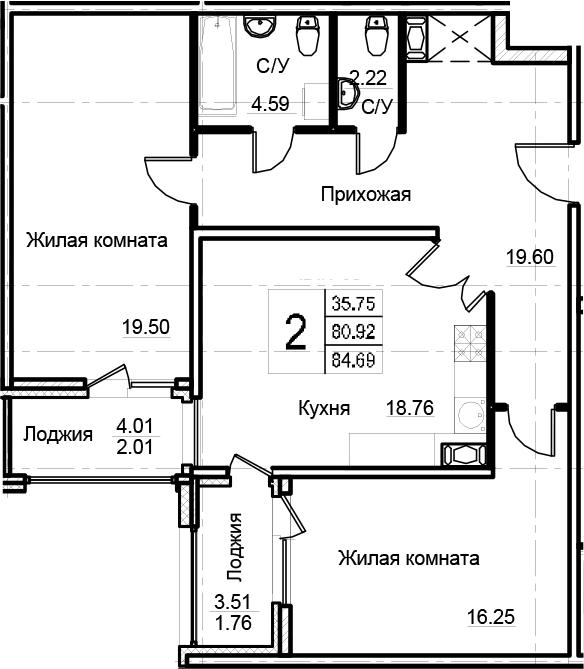 2-комнатная 88 м<sup>2</sup> на 6 этаже