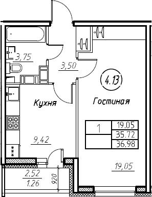1-комнатная 38 м<sup>2</sup> на 17 этаже