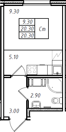 Студия 20 м<sup>2</sup> на 15 этаже
