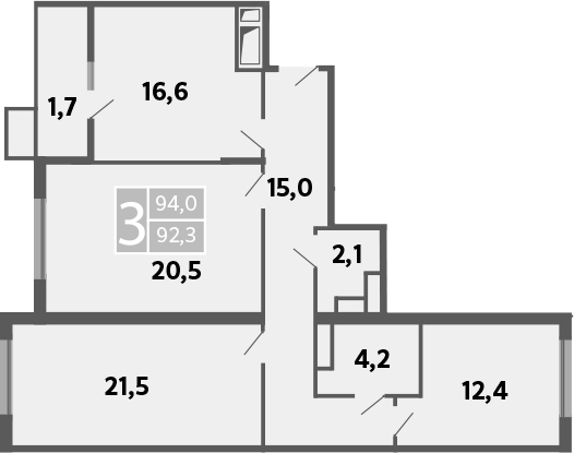 3-к.кв, 97 м²