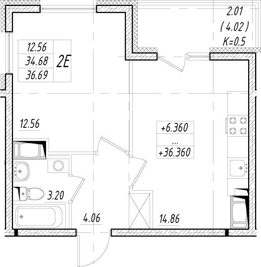 2-комнатная 38 м<sup>2</sup> на 7 этаже