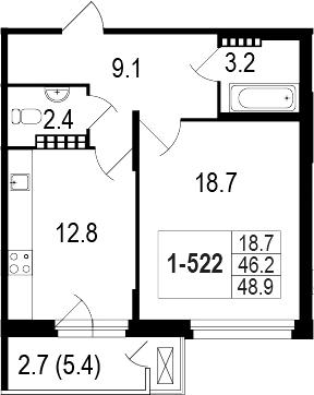 1-комнатная 51 м<sup>2</sup> на 5 этаже