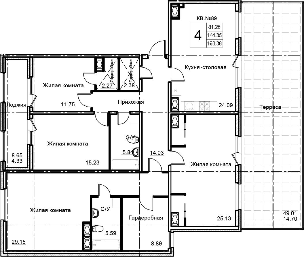 4-комнатная 202 м<sup>2</sup> на 13 этаже