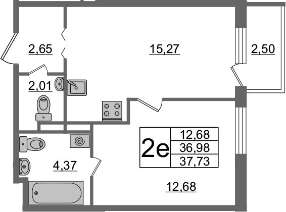 2-комнатная 39 м<sup>2</sup> на 2 этаже