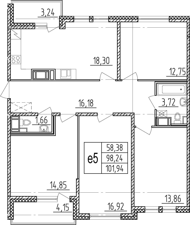 4-комнатная 105 м<sup>2</sup> на 8 этаже