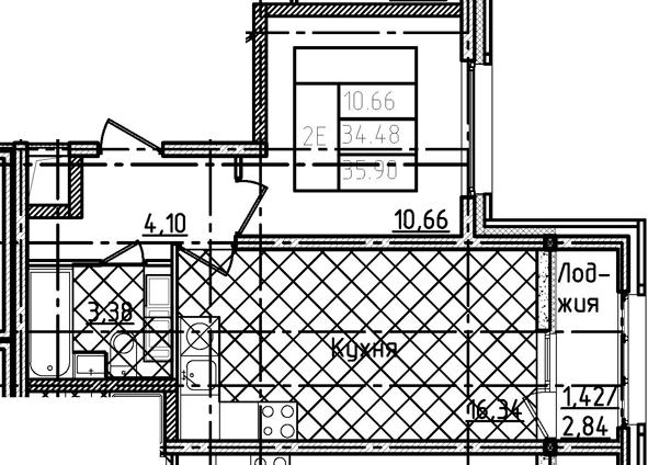 2-комнатная 37 м<sup>2</sup> на 13 этаже