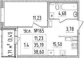 2-к.кв (евро), 38.6 м²